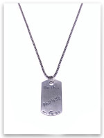 Dog Tag Phil 4:13 Mens Necklace w/Medium Box Chain (back view)