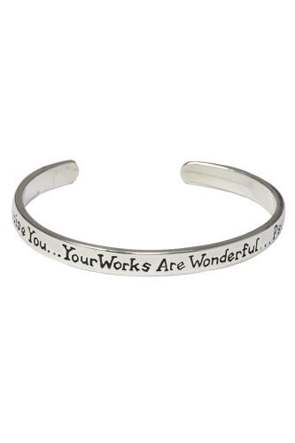 "Mom-""I will praise YOU..."" Sterling silver cuff bracelet. Psalm 139:14"