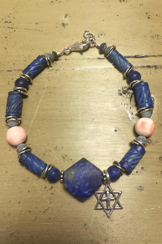 King David Lapis and Rare Pink Coral Bracelet