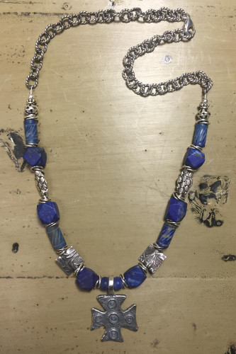 Daniel's Cross Lapis Necklace
