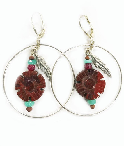 Fly-Feather Sterling Silver Large Hoop and Jasper Earrings