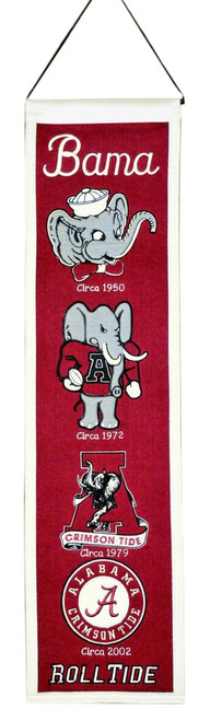 "These uniquely shaped vertical banners chronicle the evolution of select logos or mascots through the years. Each logo is identified with a circa date connecting each to a specific time period. Each banner is constructed with appliqué and embroidery detail on a heavy wool blend fabric, providing a vintage feel and look. Each banner measures 8"" wide x 32"" long and includes a hanging cord for easy display. Made By Winning Streak Sports"