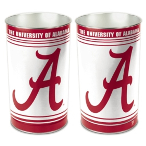 "These high quality metal waste baskets are great for a rec room, child's room, bathroom or anywhere you want to show your team spirit! They are 15"" tall, and about 10"" wide at the top. They have a tapered top, and feature bright colors and great graphics. The graphics are on both sides of the trash can. Made by WinCraft. Made By Wincraft, Inc."