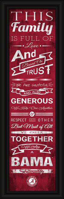 This full-color print features an inspiring message and lets everyone know who your family cheers for. The finished piece measures 24 x 8 inches in size and features the team logo. Made By Prints Charming