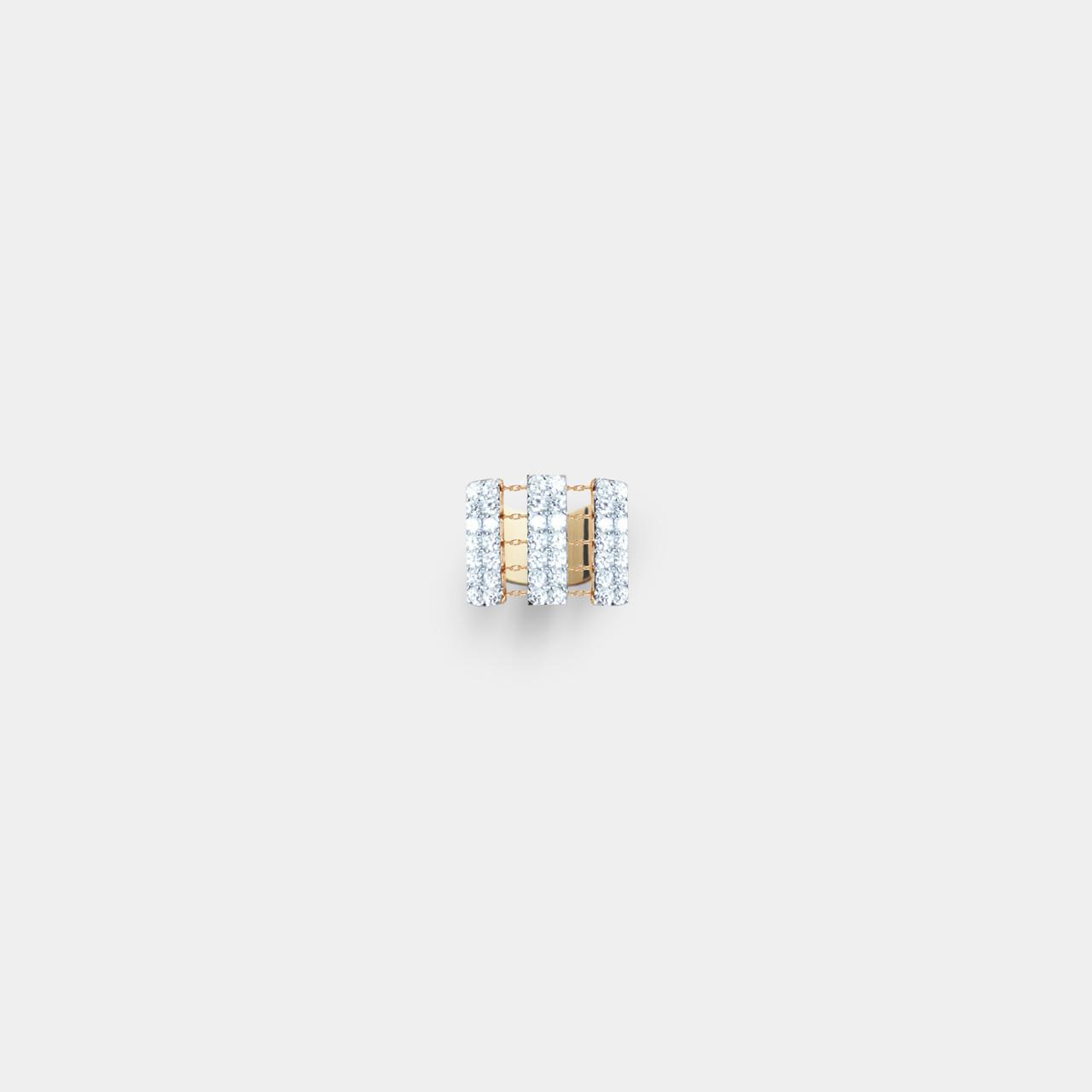 Bague Pave Diamant, Bague Bambou Pave Diamant Modèle XL