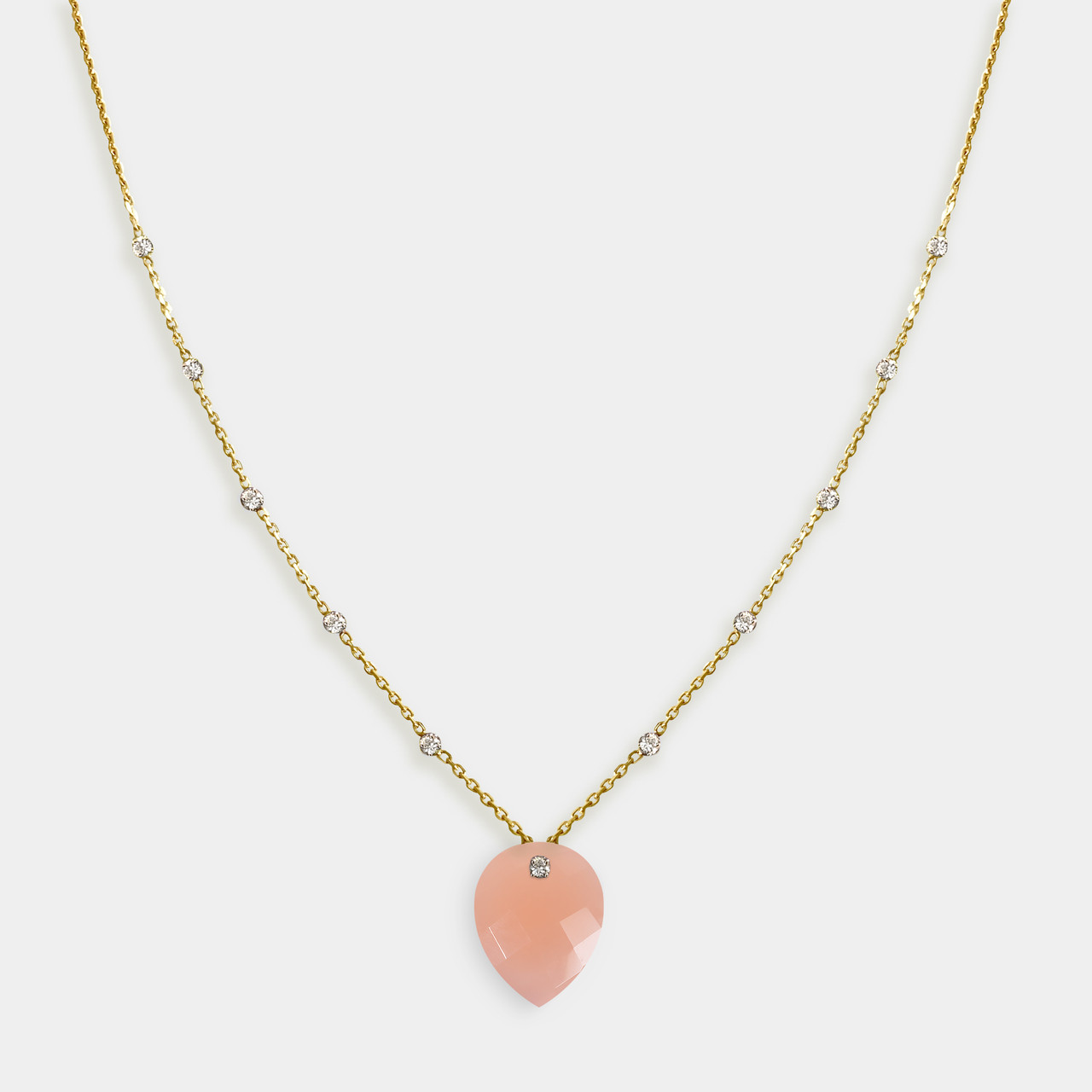 Collier 11 Diamants Calcedoine Rose, Collier Or Femme Calcedoine Rose