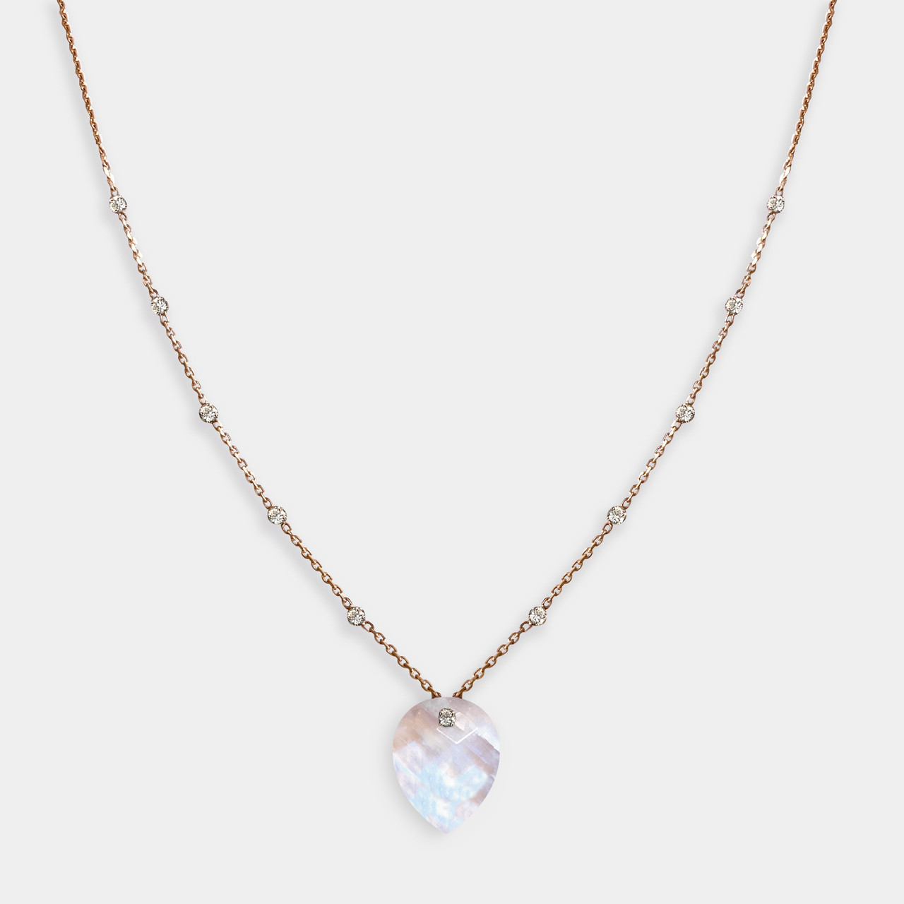 Collier 11 Diamants Pierre de Lune Rainbow, Collier Or Femme Pierre de Lune Rainbow