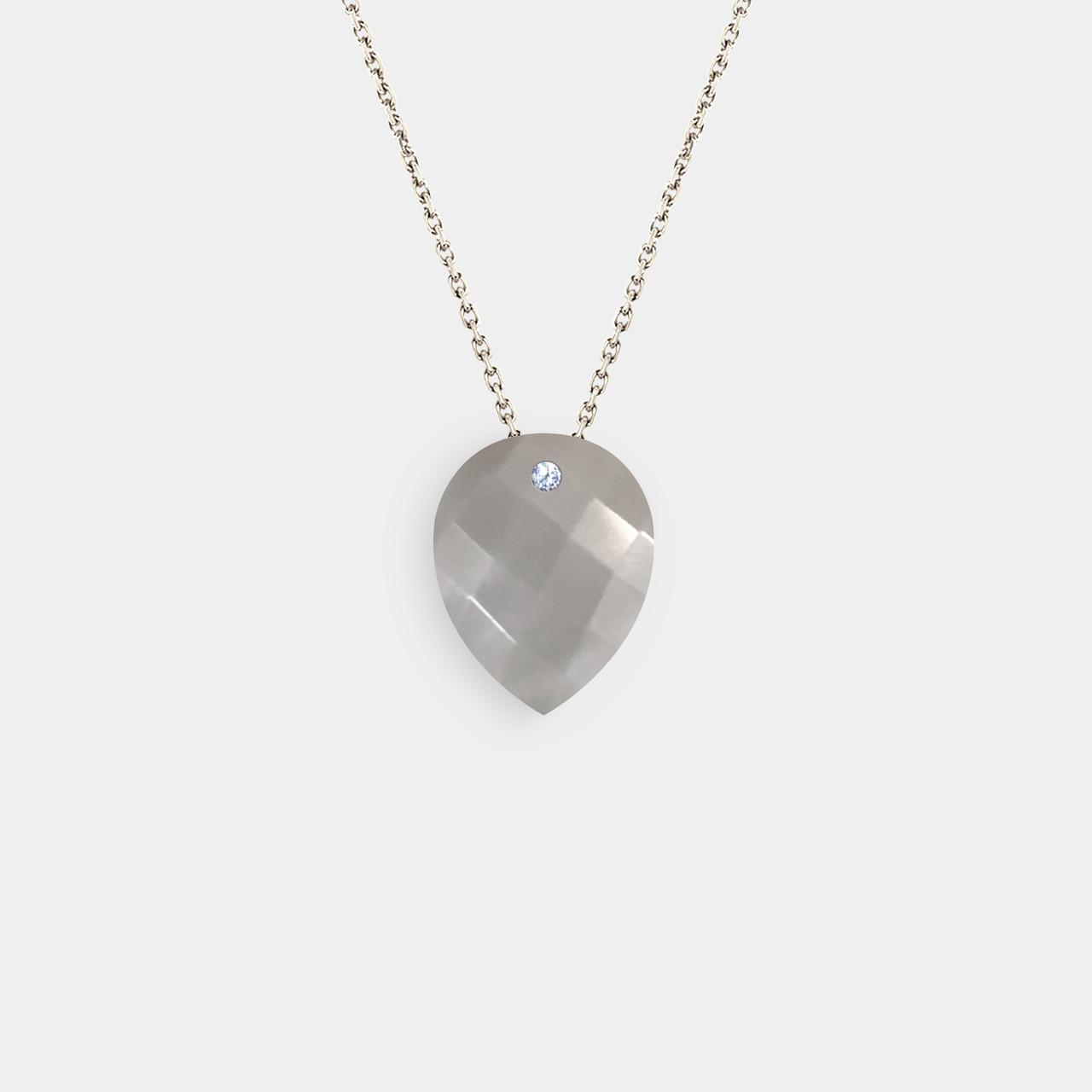 Collier 1 Diamant Pierre de Lune Grise, Collier Femme Or Pierre de Lune Grise