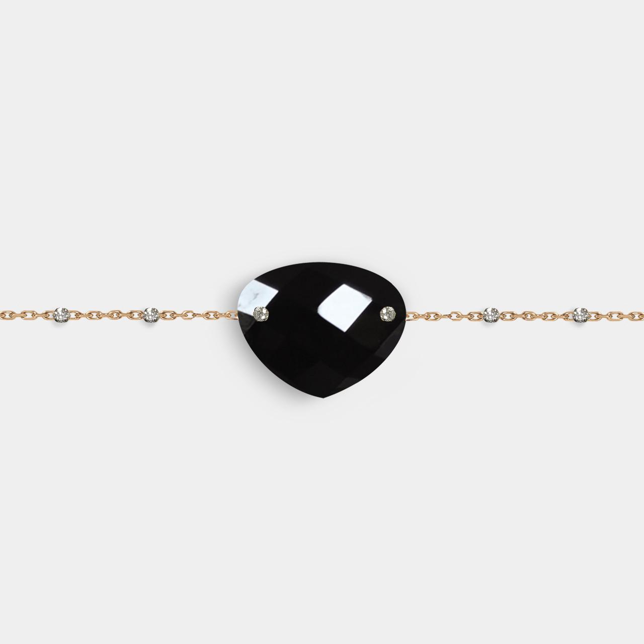 Bracelet Onyx, Bracelet Pierre Noire, Bracelet Femme Pierre Noire