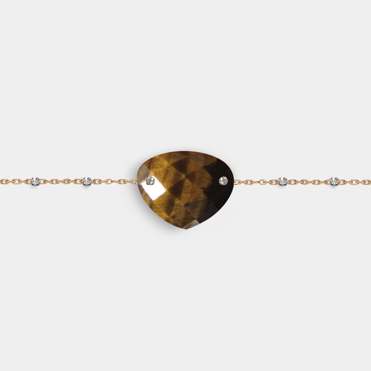 Bracelet Poire Couronne 6 Diamants Oeil de Tigre, Bracelet Femme Oeil de Tigre