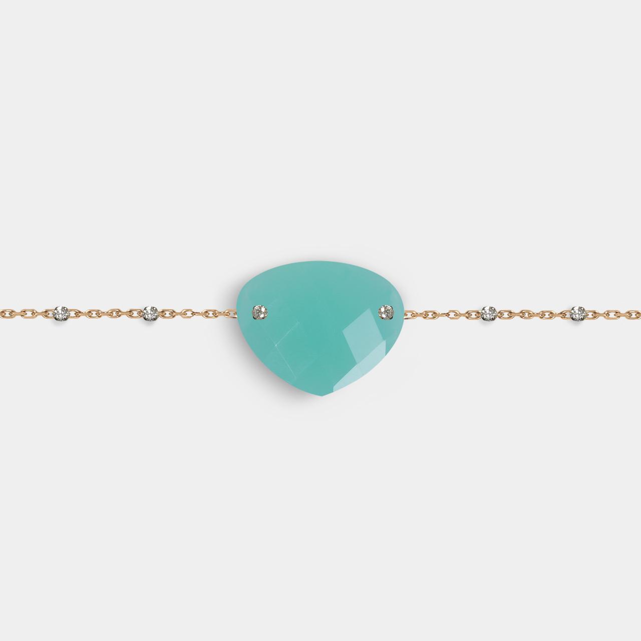 Bracelet Agate Bleue, Bracelet Or Femme Agate Bleue