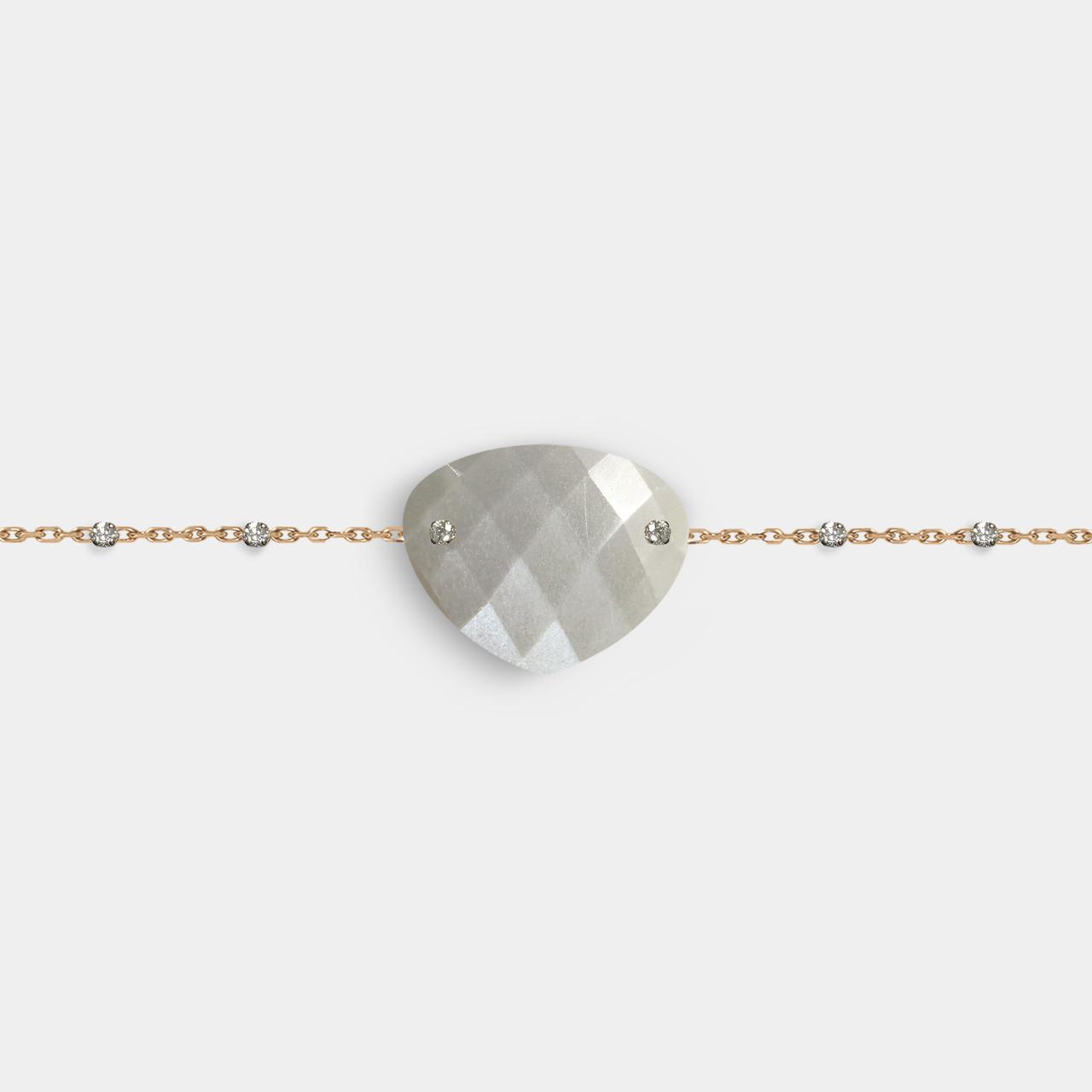 Bracelet Pierre Lune Grise, Bracelet Femme Or Pierre Lune Grise
