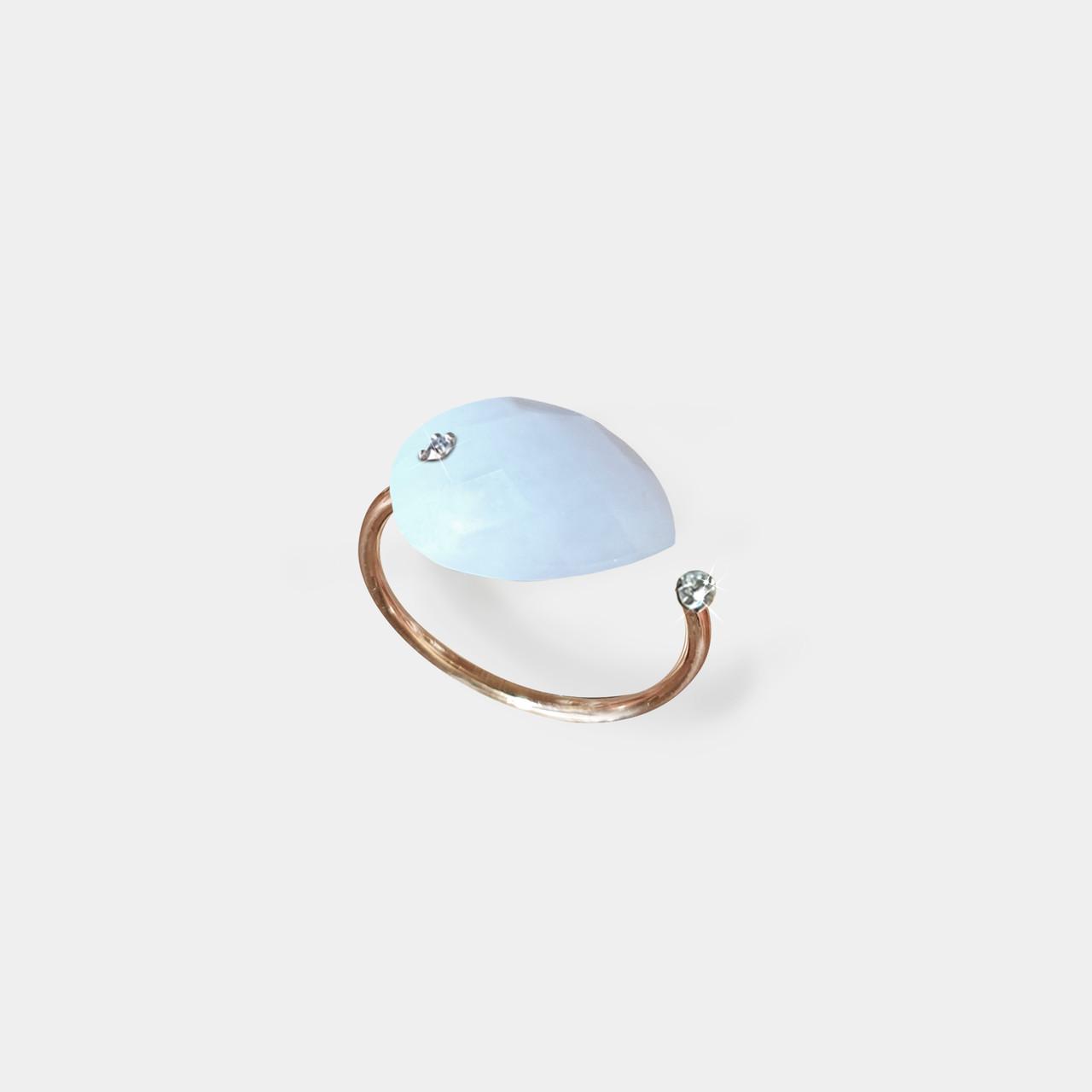 Bague 2 Diamants Quartz Blanc, Bague Femme Quartz Blanc