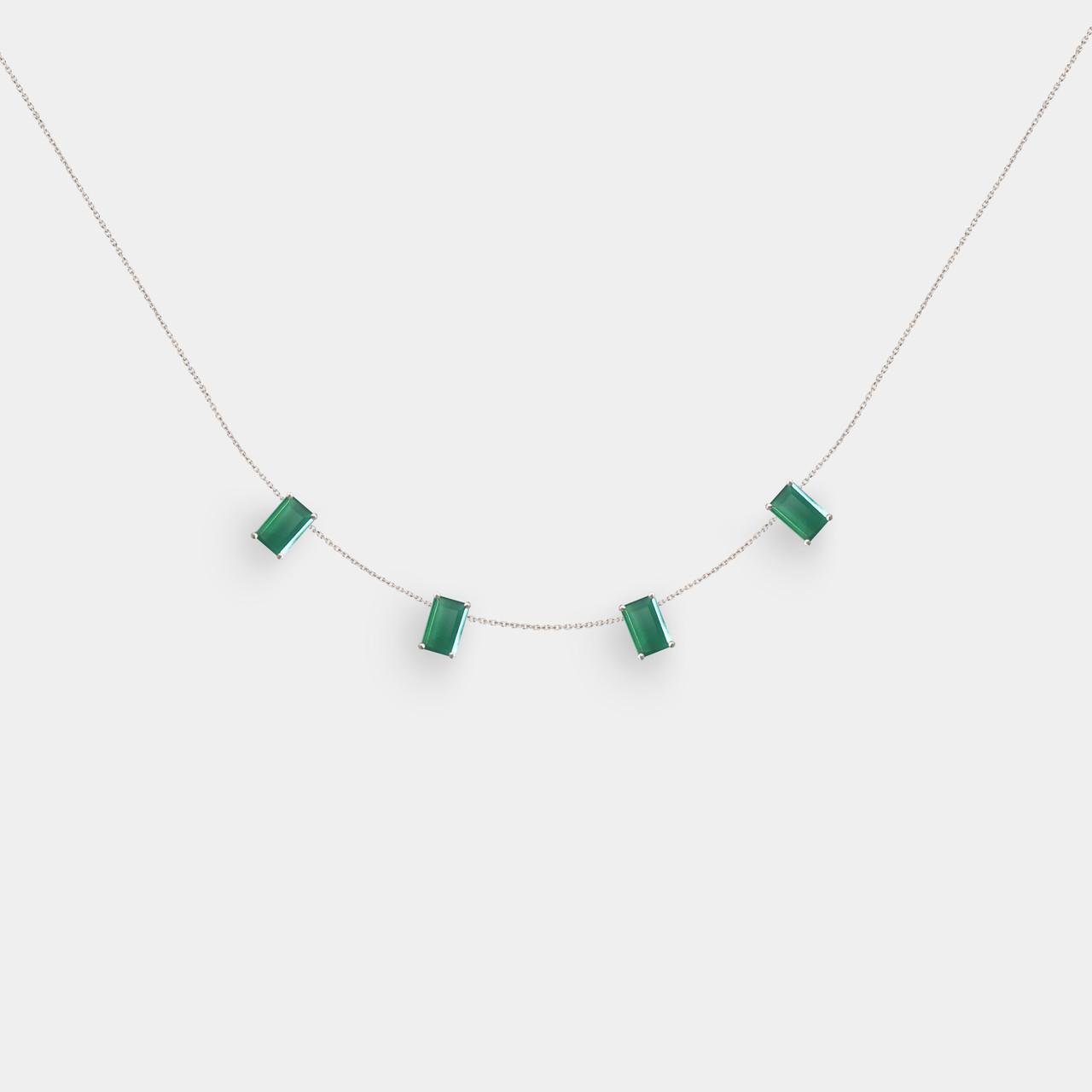 Collier Ras de Cou Agate Verte, Collier Or Femme Agate Verte