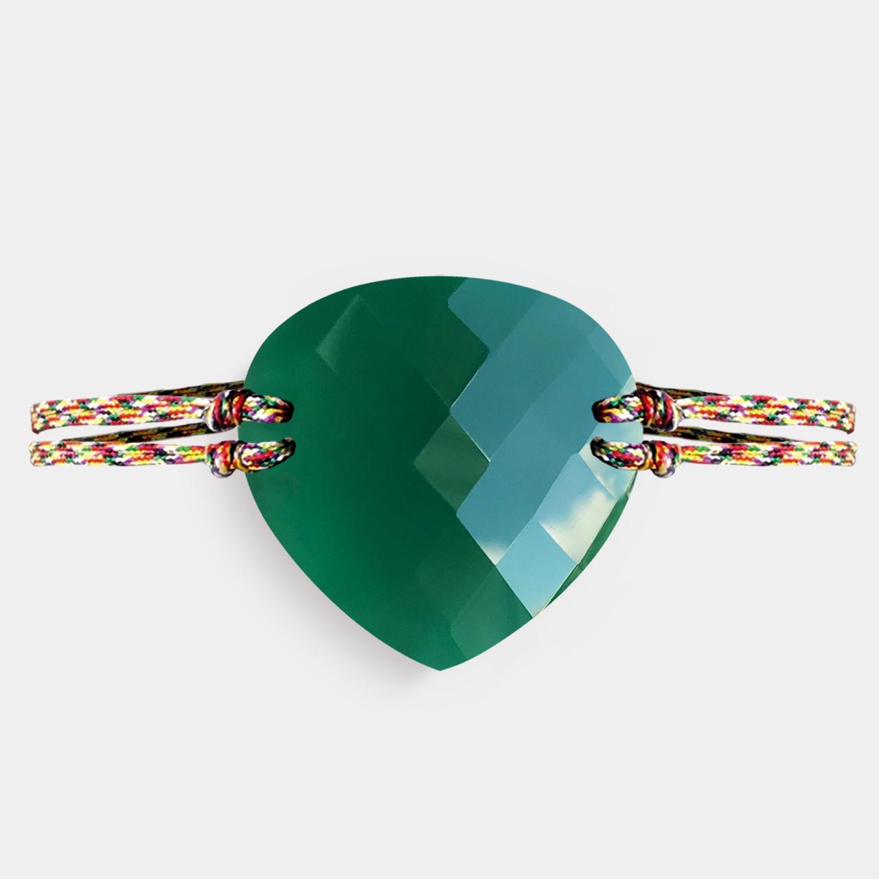 Bracelet Homme Agate Verte, Bracelet Homme Cordon Agate Verte