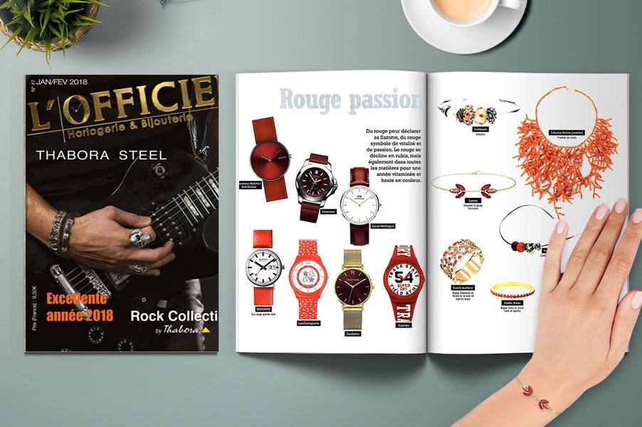 L'OFFICIEL Horlogerie Bijouterie - Le Bracelet pierre rouge de la Collection Bengale - LAYONE Paris