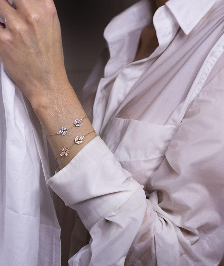bracelets diamant, bracelet diamant or rose, bracelet or blanc et diamant. Bijoux diamant de la Collection Bengale LAYONE Paris par la créatrice Morganne Bello.
