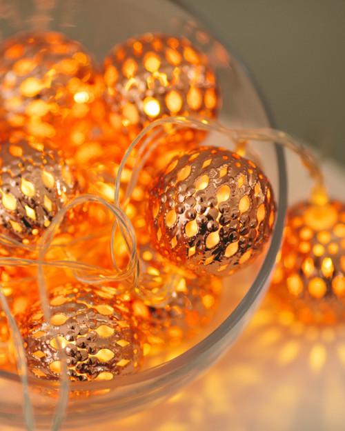 Copper Tone 'Moroccan Balls' Fairy Lights *