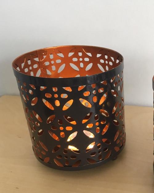 Metal Candle Holder: Geometric Flower *