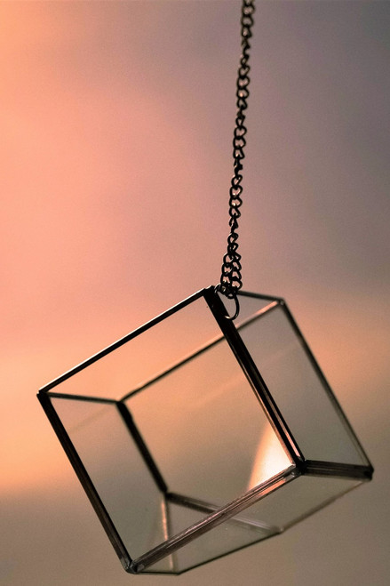 Hanging Glass Diamond Terrarium with copper trim *