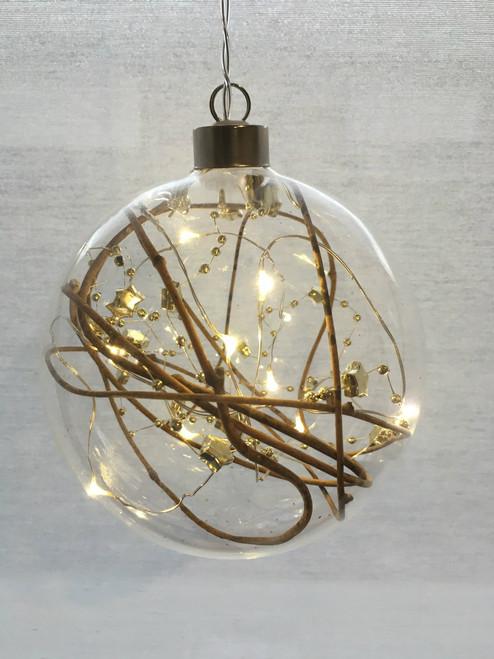 Gold Bead Hanging Sphere Glass Light *