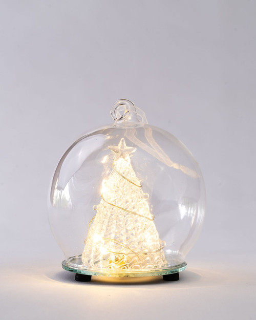 Glass Tree in LED Twinkle Globe*
