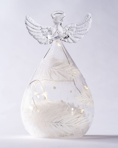 Round Clear LED Glass Angels with White Feather Print. Two Sizes.*
