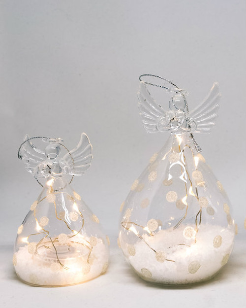 Round Clear LED Glass Angels with Spots. Two Sizes.*