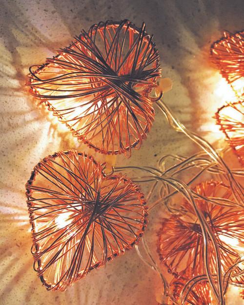 Woven Heart Copper Tone Fairy Lights*