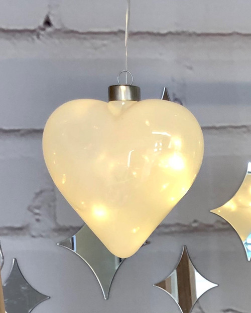 White Halo Heart Hanging Glass Light*