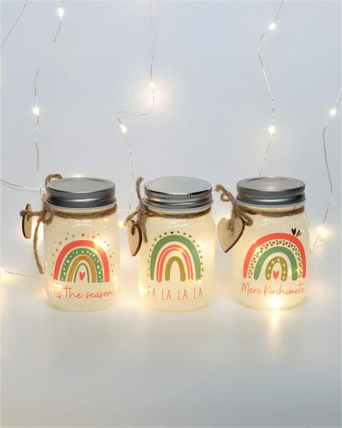 Mini Festive Printed Sparkle Jars. Box set of 3*