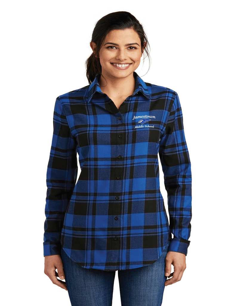JMS LW668 Ladies Plaid Flannel Royal