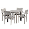 DTY Outdoor Furniture Leadville Eucalyptus Square Dining Set With 4 Stacking Armchairs Driftwood Gray