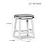 """DTY Indoor Living Cortez Bonded Leather 24"""" Counter Height Stool Dimensions"""