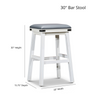 """DTY Indoor Living Cortez Bonded Leather 30"""" Bar Height Stool Dimensions"""