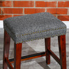 "DTY Indoor Living Grand Lake Backless Stool, 24"" Counter Height,  Gray Tweed Upholstery and brass Nailhaead Trim"