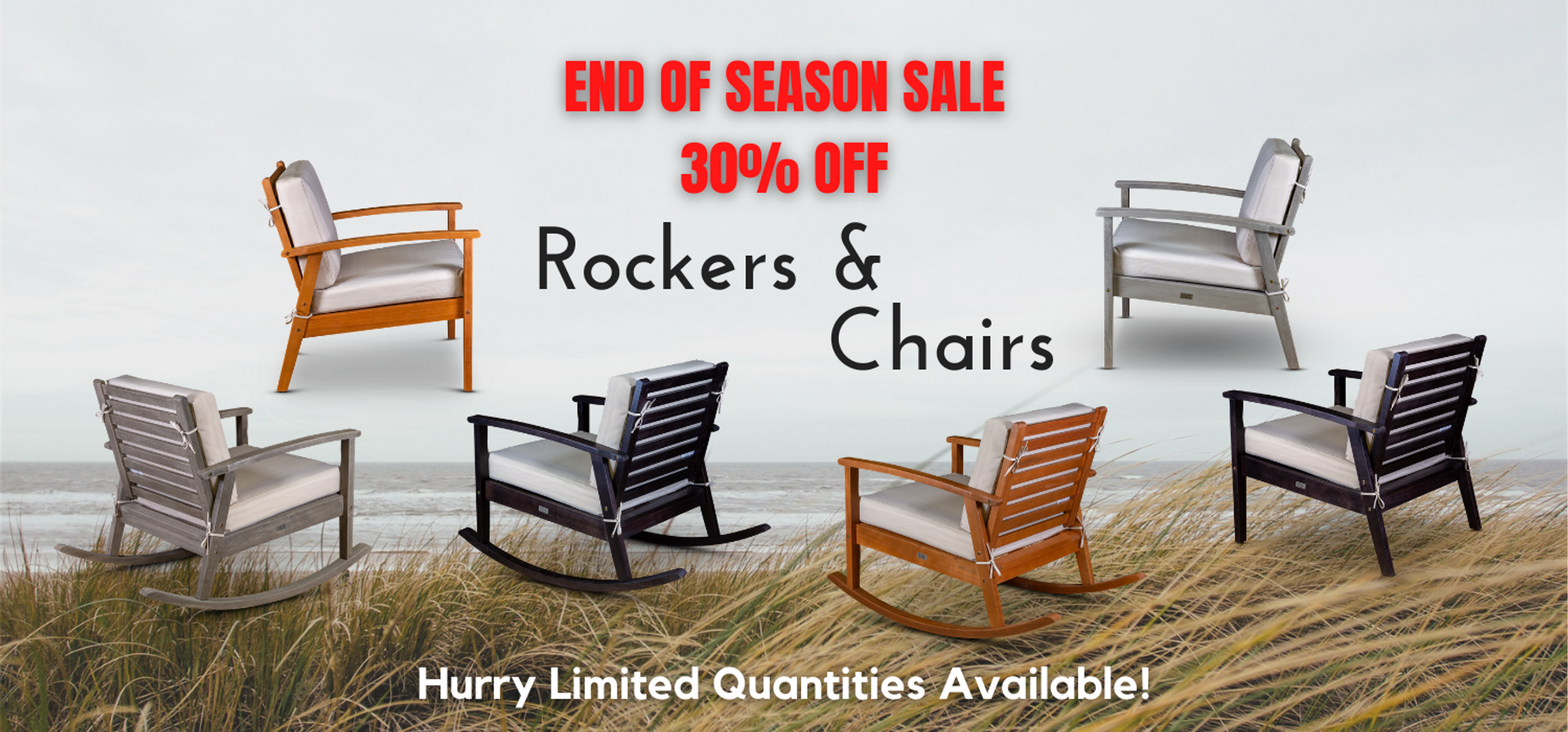 DTYStore End of Season Sale 30% Off Eucalyptus Rockers and Chairs