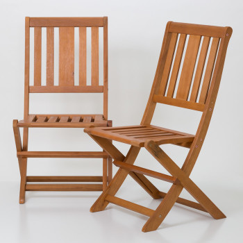 DTY Outdoor Living® Eucalyptus Armless Folding Chairs Set of 2