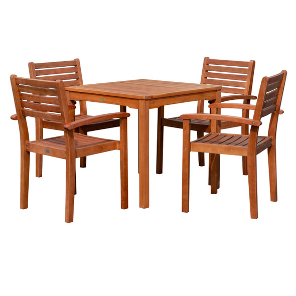 DTY Outdoor Living Leadville Eucalyptus Square Dining Set With 4 Stacking Armchairs Natural Oil
