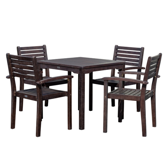 DTY Outdoor Living Leadville Eucalyptus Square Dining Set With 4 Stacking Armchairs Espresso