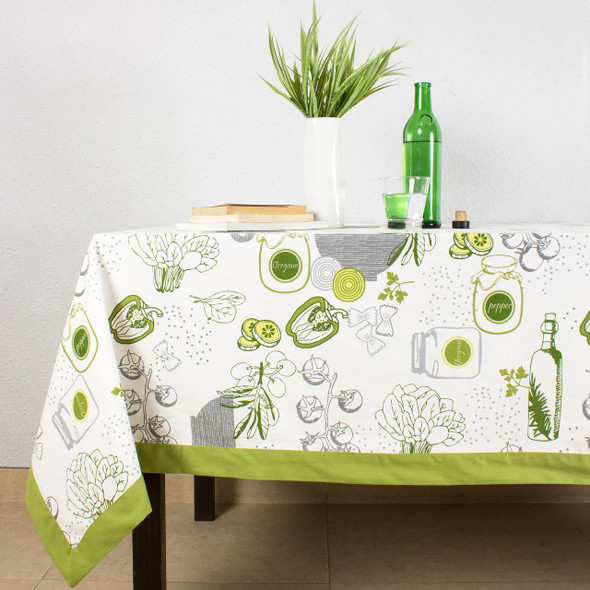 House This ® 100% Cotton Tablecloth, Gourmet Salad Design