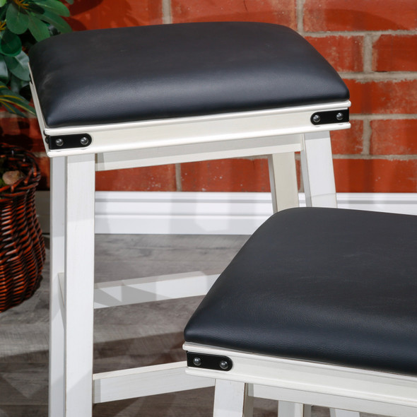 "Cortez Bonded Leather Stool, 24"" Counter Height or 30"" Bar Height"