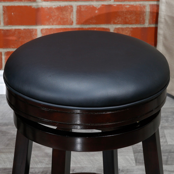 DTY Indoor Living Creede Backless Swivel Stool Espresso finish Black Leather Seat
