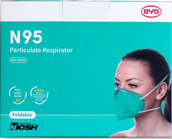 BYD CARE N95 Respirator, 20 Pack with Individual Wrap, Breathable & Comfortable Foldable Safety Mask with Head Strap for Tight Fit