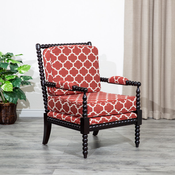 DTY Indoor Living Silverthorne Spindle Chair  Espresso, Red Moroccan Tile