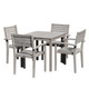 DTY Outdoor Living® Leadville Eucalyptus Square Dining Set With 4 Stacking Armchairs