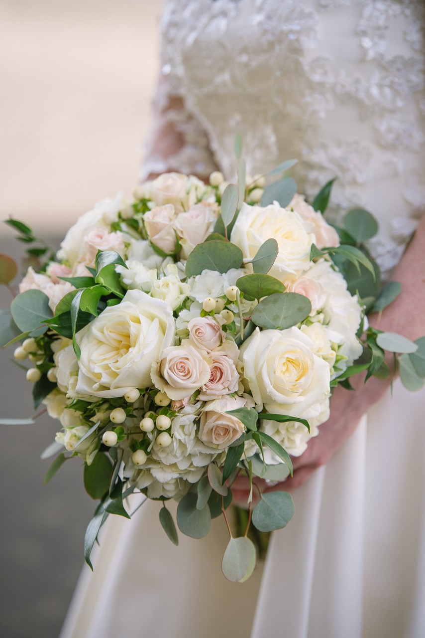 All White Bridal Bouquet with Greens