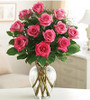 Dozen Long Stem Pink Roses with Greenery