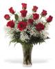 Dozen Long Stem Roses with Babies Breath in Square Vase