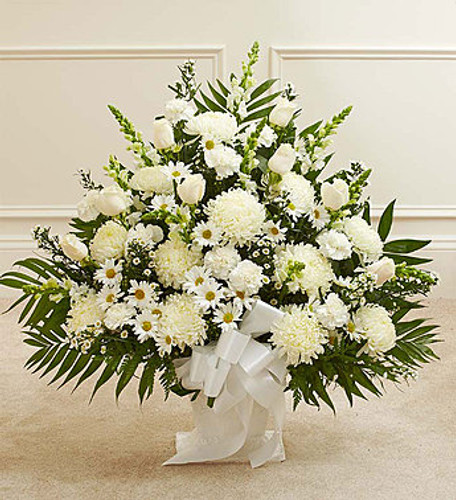 Heartfelt Tribute White Floor Basket Arrangement Pittsburgh Pennsylvania Florist